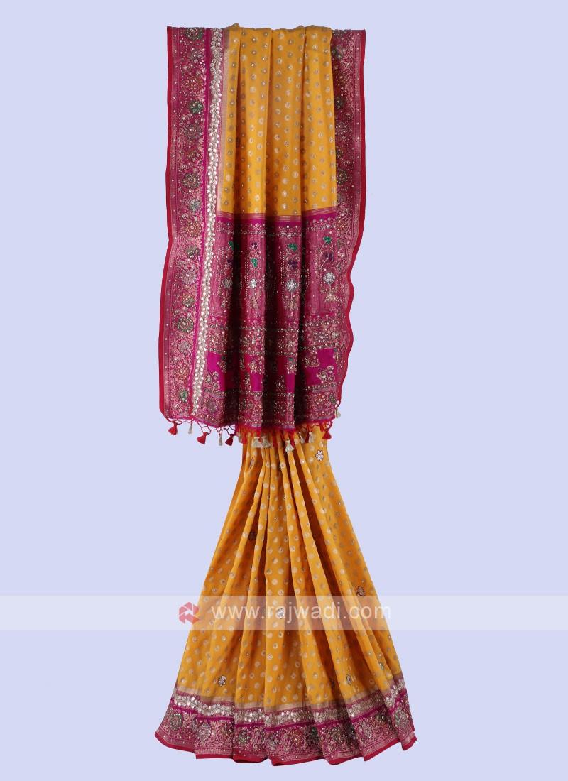 Yello And Rani Banarasi Silk Saree.