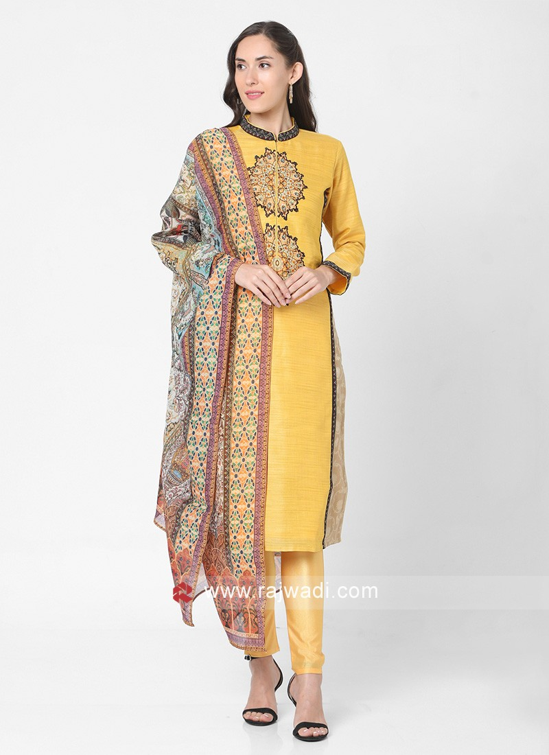 Yellow And Beige Color Readymade Suit