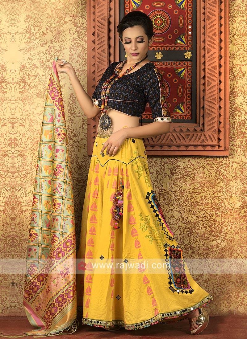 yellow and black navratri chaniya choli
