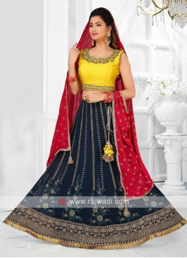 yellow and blue lehenga choli