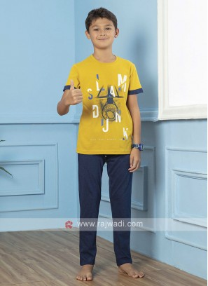Yellow And Blue Sleepwear For Boys