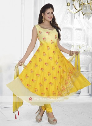 Yellow And Cream Color Anarkali Suit with dupatta