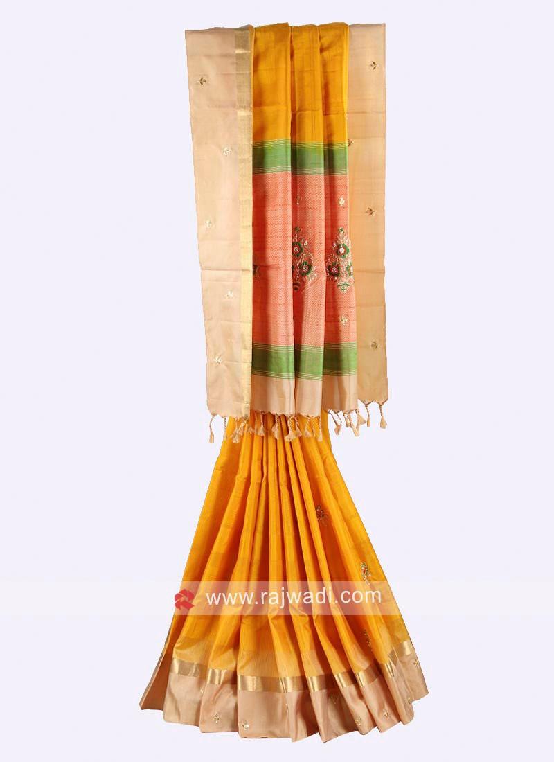 Yellow and cream color pure silk saree