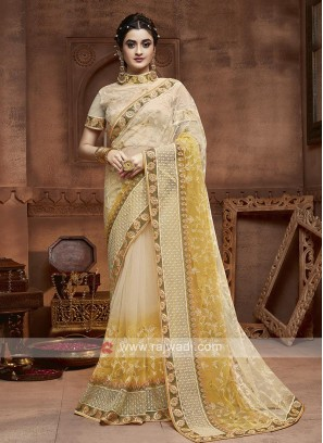 Yellow And Cream Shaded Saree