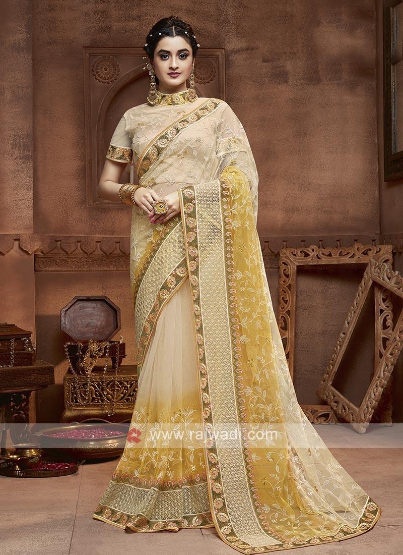 Yellow And Cream Shaded Saree