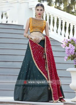Yellow and Dark Green Lehenga Choli with Red Dupatta