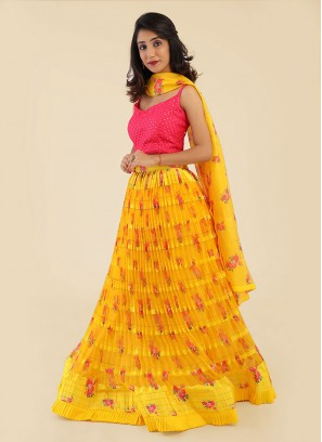 Yellow And Deep Pink Flower Printed Choli Suit