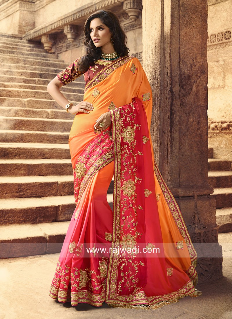 Yellow and Gajari Pink Shaded Designer Saree