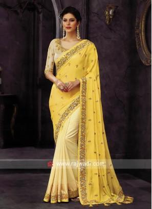 Yellow and Golden Cream Half Saree