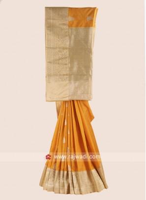 Yellow and Golden Cream Woven Saree