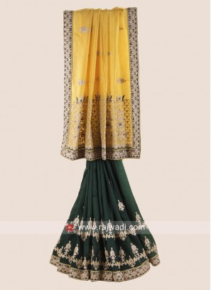 Yellow and Green Half n Half Saree