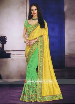 Yellow and Green Half Saree