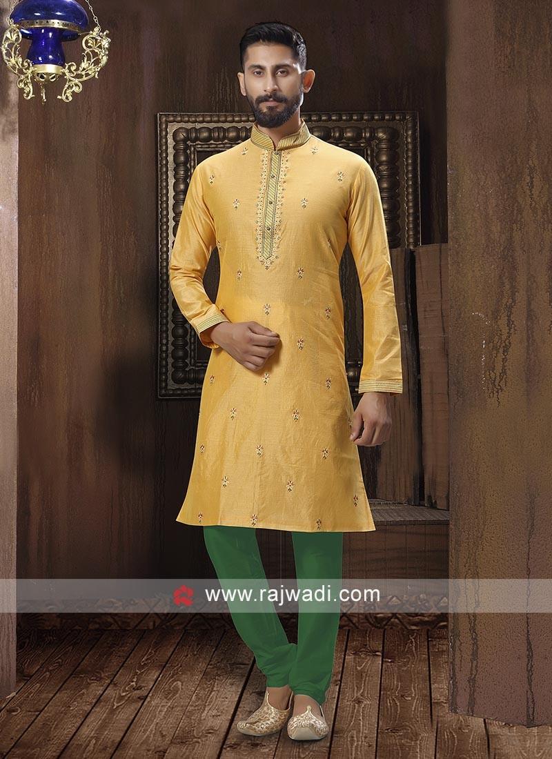 Yellow And Green Kurta Pajama