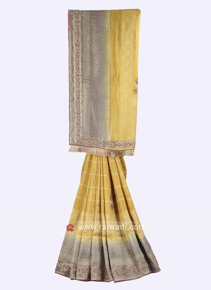 Yellow and grey banarasi silk saree