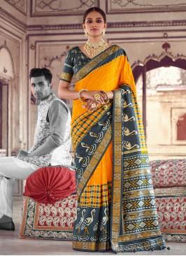 Yellow And Grey Patola Printed Saree