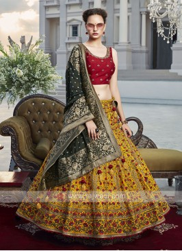 Yellow and maroon choli suit