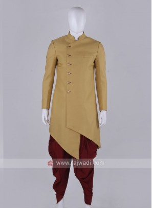 yellow and maroon indo western