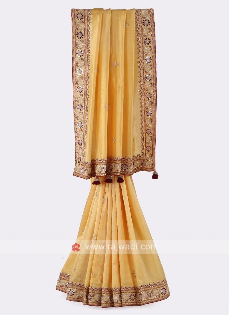 Yellow And Maroon Silk Saree