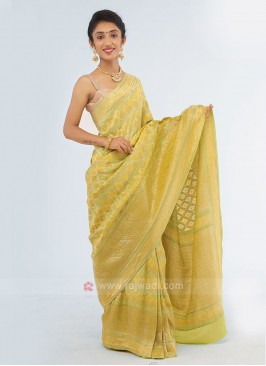 Yellow And Mehndi Green Chiffon Silk Saree