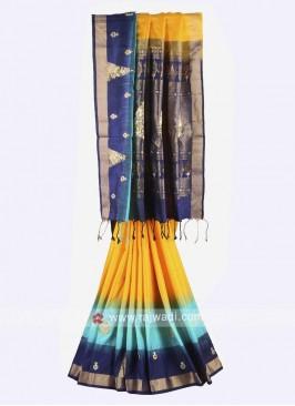 Yellow and navy blue pure silk saree