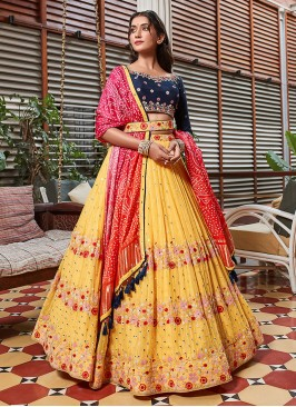 Yellow And Navy Blue Choli Suit With Contrast Dupatta
