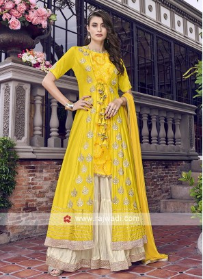 Yellow and off white gaharara suit