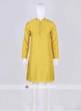 yellow and off white kurta pajama