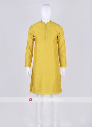 yellow and off white kurta pajama