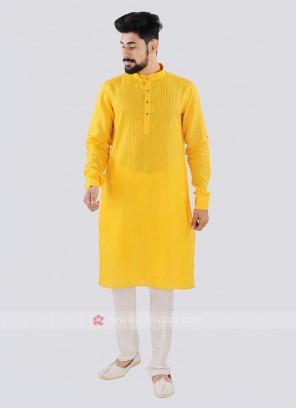 Yellow And Off White Linen Kurta Set