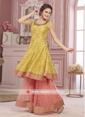Yellow and peach color gharara suit