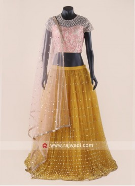 Yellow and Peach Designer Lehenga Choli