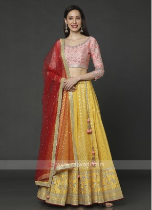 Yellow And Pink Choli Suit