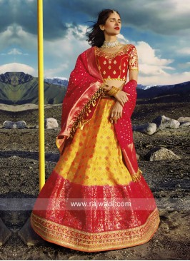 Yellow and Pink Silk Lehenga Choli