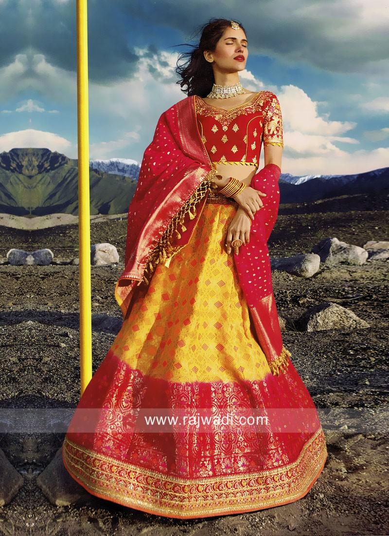Yellow and Pink Silk Lehenga Choli