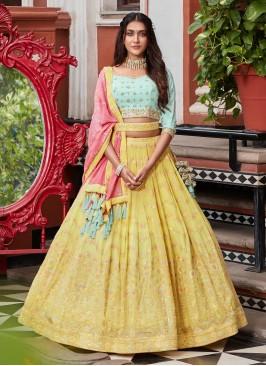 Yellow And Pista Green Lehenga Choli With Contrast Dupatta