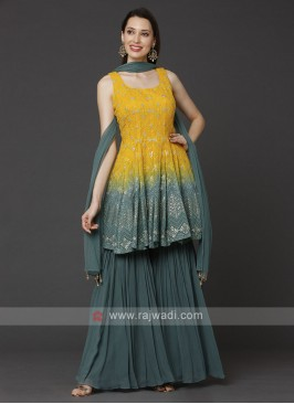 Yellow And Rama Gharara Suit