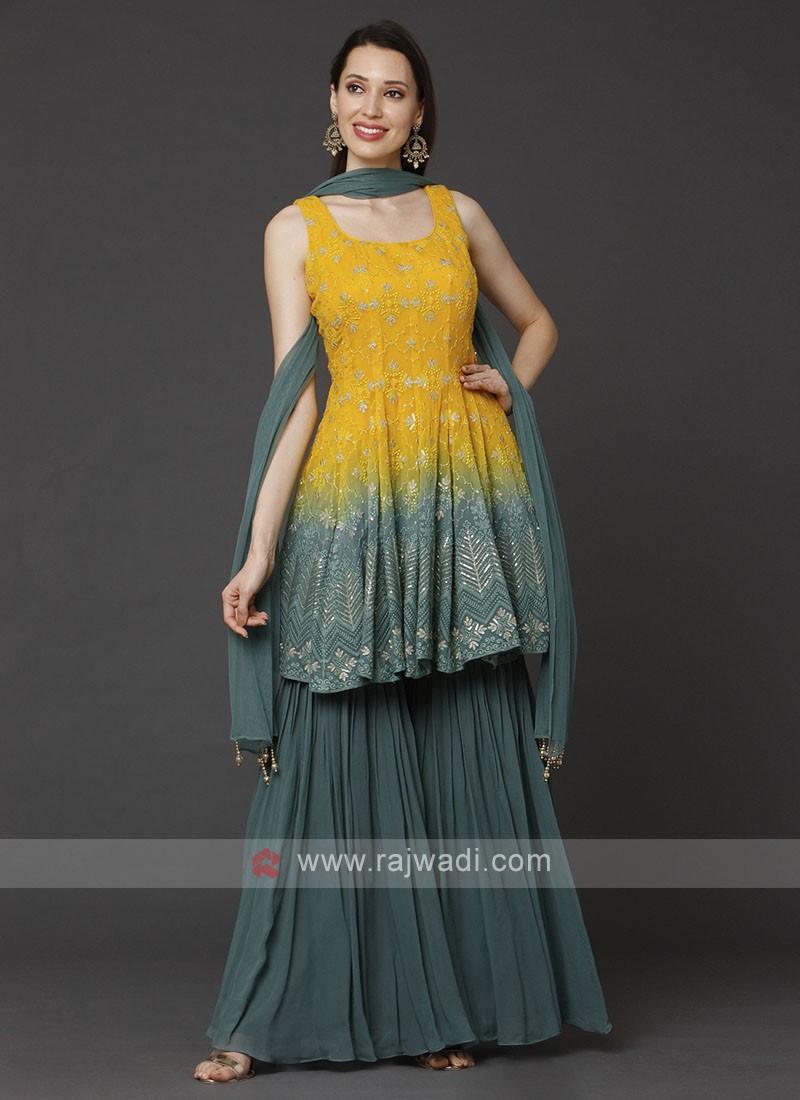 Yellow And Rama Gharara Suit