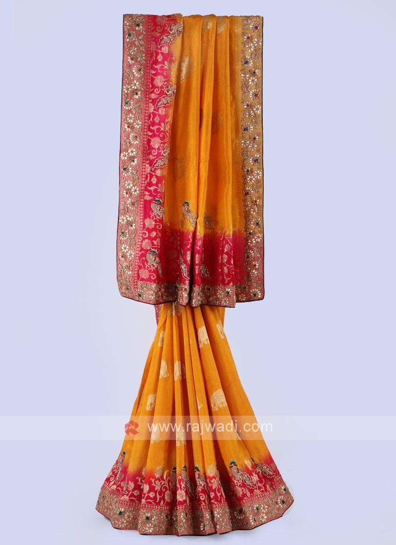 Yellow And Rani Banarsai Silk Saree.