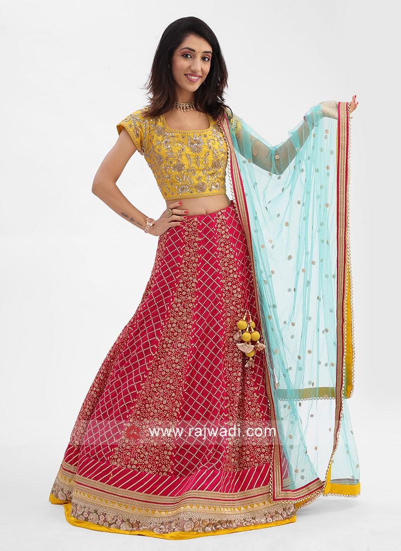 Yellow And Rani Color Choli Suit