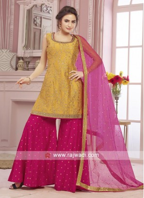 Yellow and rani color gharara suit