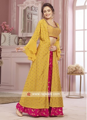Yellow and rani color palazzo suit