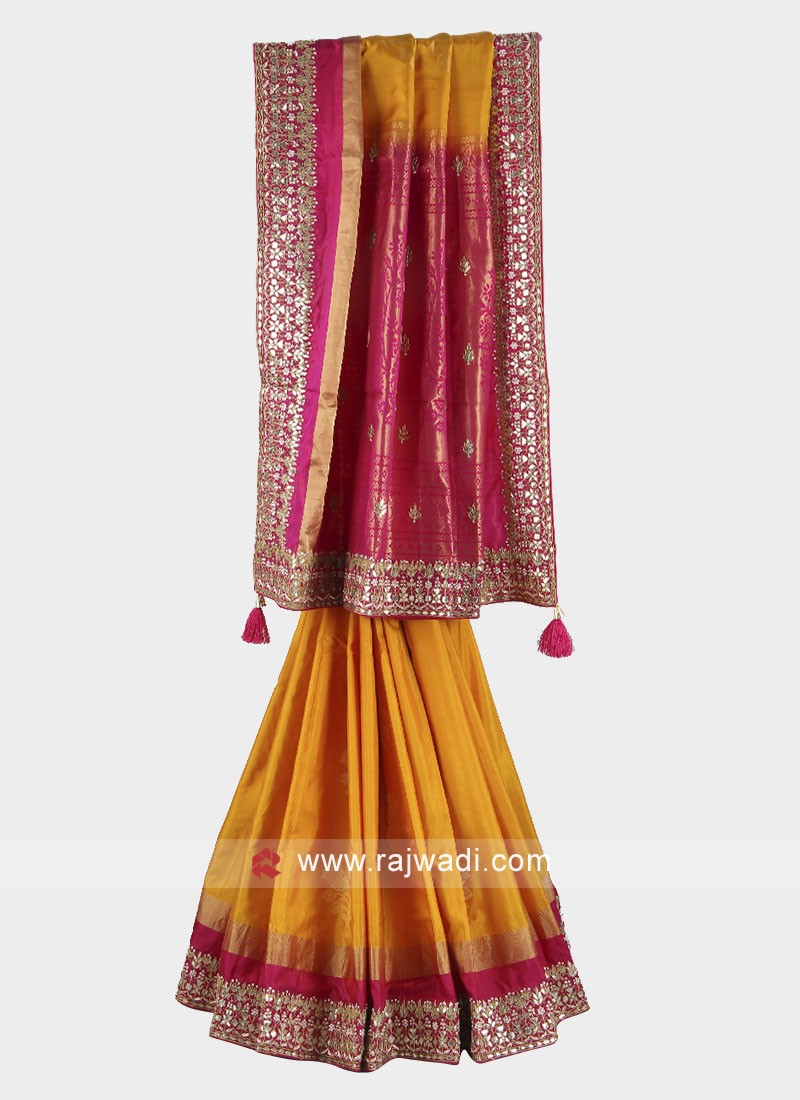 Yellow and rani color pure silk saree
