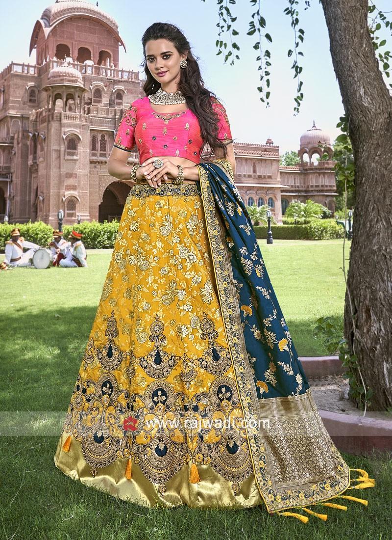 Yellow and Rani Wedding Lehenga Set