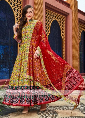 Yellow and Red anarkali Suit With Dupatta