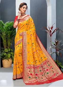 Yellow And Red Color Banarasi Silk Saree