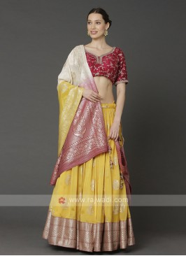 Yellow And Red Designer Choli Suit