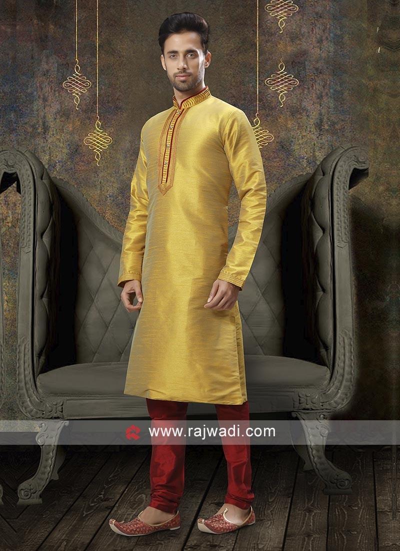 Yellow And Red Kurta Pajama