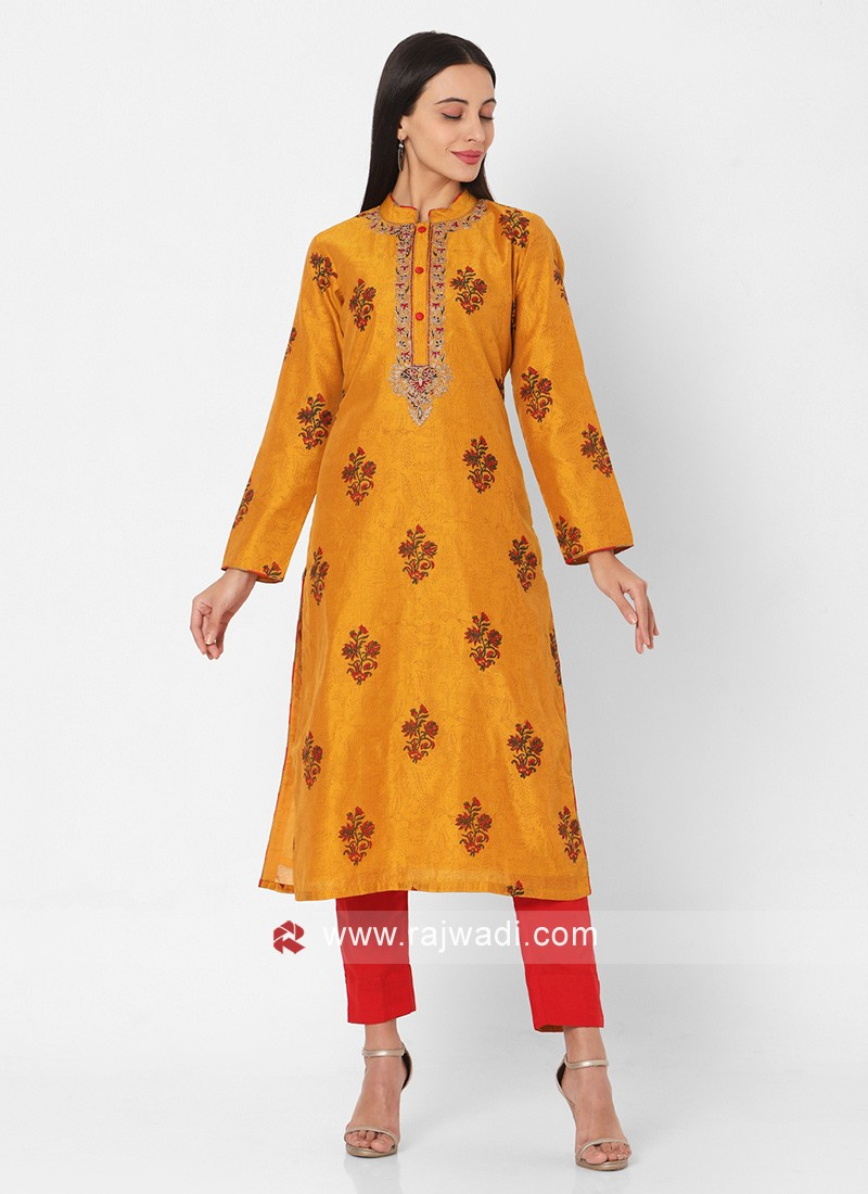 Yellow And Red Pant Style Embroidery Kurta
