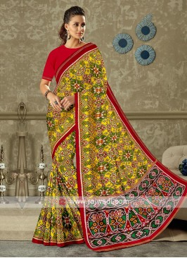 Yellow And Red Patola Print Saree