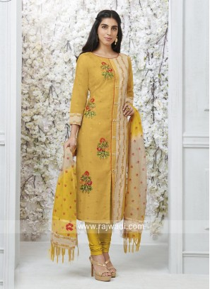 Yellow and Skin Embroidered Salwar Kameez